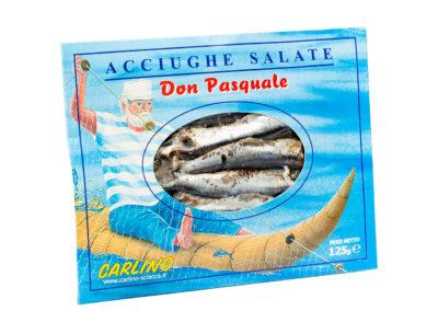Acciughe salate gr 125 in busta sottovuoto astucciata