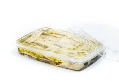 Filetti di acciughe marinate gr. 200 con pistacchio in vaschetta